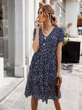 Navy Blue Boho Allover Print Button Front Frill Ruffle Hem Dress CS1101401