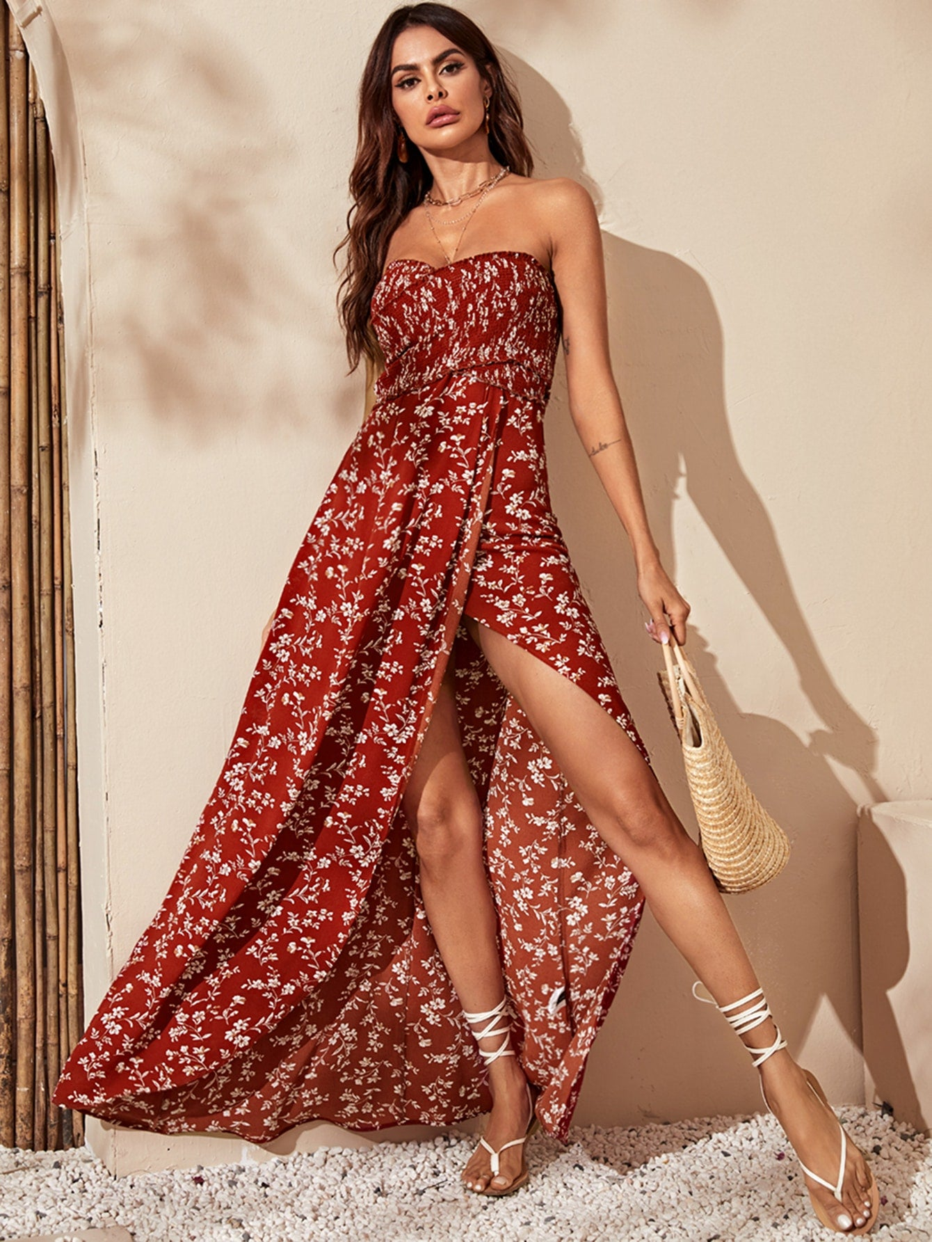 Red Boho Shirred Cross Wrap Bodice Floral Dress CS1050821