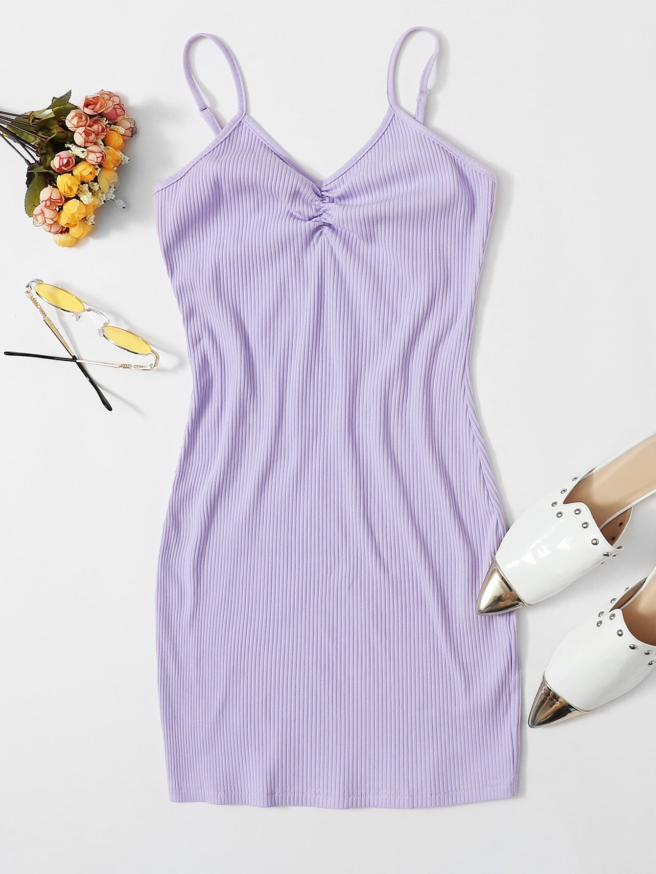 Pastel Elegant Ribbed Ruched Cami Bodycon Dress CS1264171