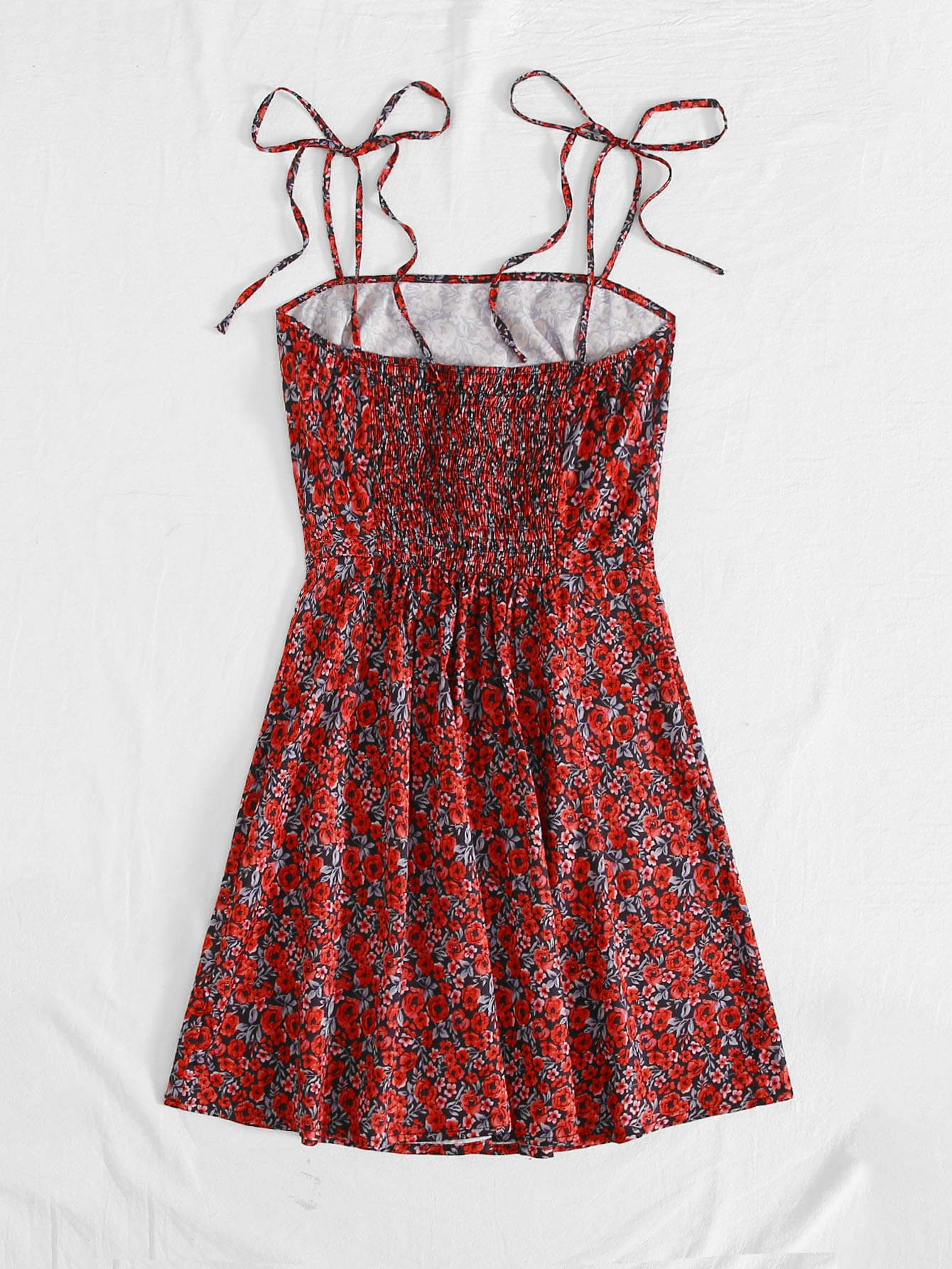 Burgundy Boho Shirred Back Floral Print Knotted Cami Dress CS1245351