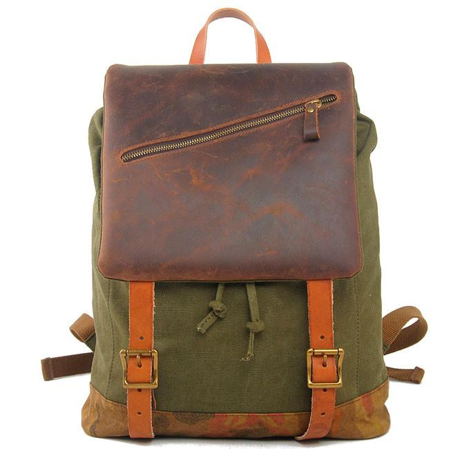 Large Camping Travel Rucksack Handmade Thick Real Leather Splicing Outdoor Men Backpack For Big Sale!- cutespree.com