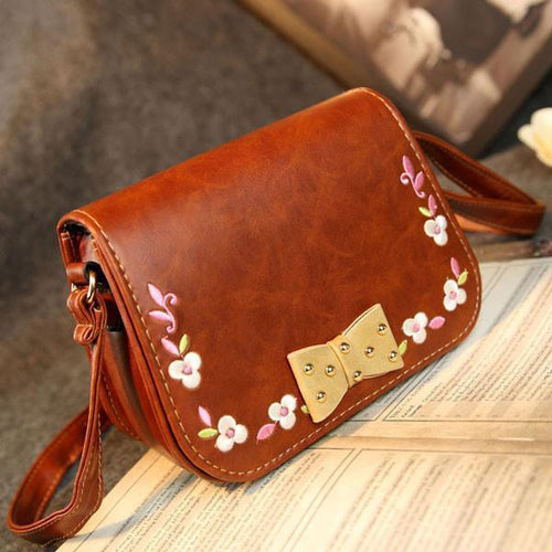 Folk Bowknot Embroidered Shoulder Bag Messenger Bag - xikeoo