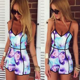 Sexy Fashion V-neck Printed Piece Pants Romper - cutespree