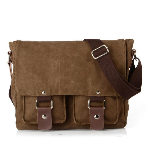 Retro Soild Canvas Shoulder Bag - xikeoo