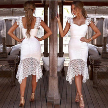 Load image into Gallery viewer, Fresh White Hollow Lace Summer Sling Slim Dress