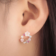Load image into Gallery viewer, Fashion Pearl Crystal Bow Wreath Earring Studs Flower Earrings