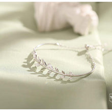 Load image into Gallery viewer, Cute Leaves Bangle Silver Romantic Crystal Diamond Branch Women Bracelet