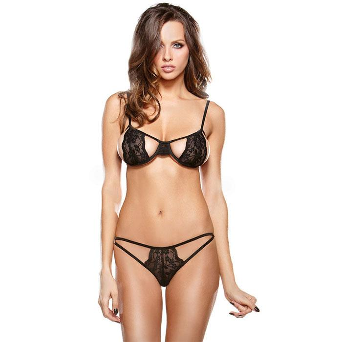 Sexy Black Lace Bra Set Sling Lace Intimate Women Lingerie