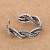 925 Sterling Silver Hand Woven Braid Opening Ring - cutespree