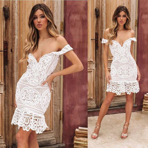 Sexy Hollow V Shape Wrapped Bust Lace Party Summer Dress