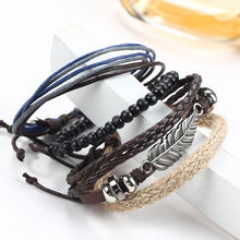 Load image into Gallery viewer, Leisure Angel Wing Feather Alloy Multi-layer Wooden Bead Woven Beaded Wax Bracelet