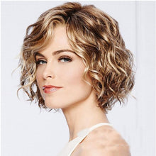 Load image into Gallery viewer, Fashion Brown Short Roll Mixed Fluffy COS Headgear Wave Ladies Hair Wig