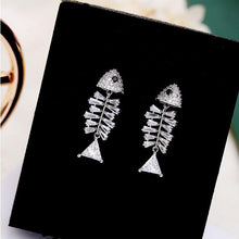 Load image into Gallery viewer, Lovely Silver Needle Bone Personality Creative Earrings Zircon Fish Bone Animal Earrings Studs