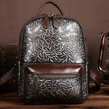 Load image into Gallery viewer, Retro Real Leather Handmade  Branch 3D Carved Large College Backpack