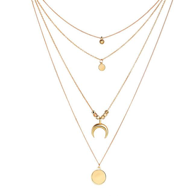 Leisure Personality Multi-layer Moon Disc Pendant Female Necklace