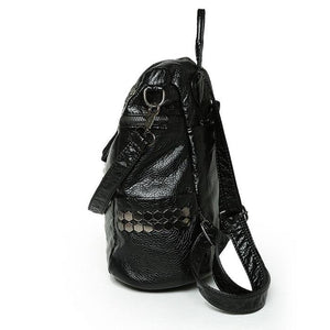 Leisure Black Soft Leather Shoulder Bag Multifunction Rivet School Backpacks