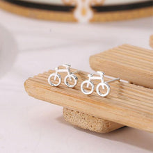 Load image into Gallery viewer, Cute Hollow Bicycle Lady Silver Mini Bike Earring Studs