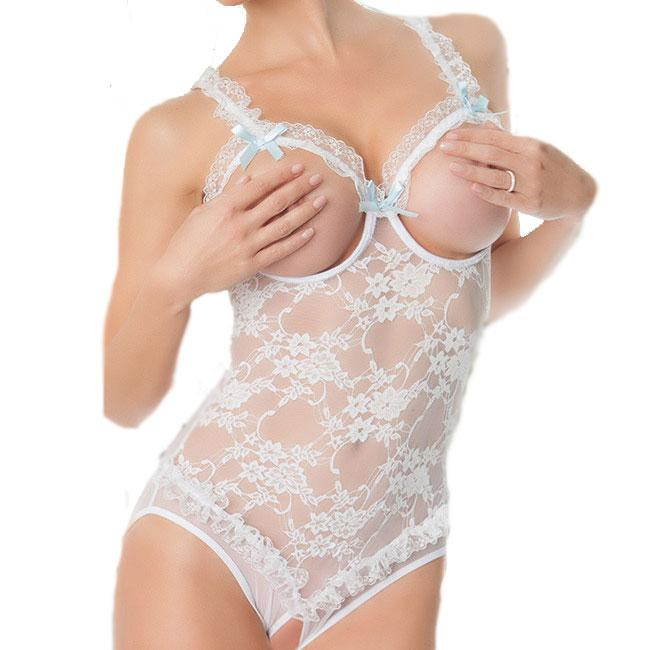 Sexy Exposed Breasts Open Files Pants Women's Lace  See Through Rose Embroidery Bow Mesh Lingerie For Big Sale!- cutespree.com
