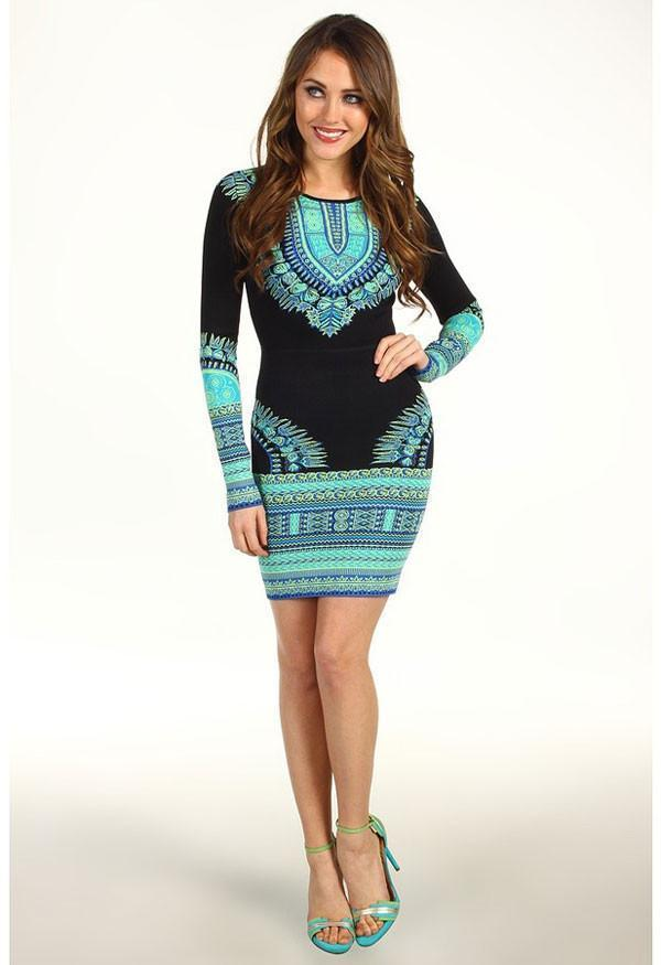 Long Sleeve Fashion Totem Printing Dress - cutespree