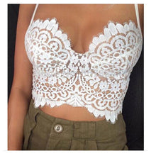 Load image into Gallery viewer, Summer Sexy Low-cut Halter Eyelash Lace Top Vest For Big Sale!- xikeoo.com