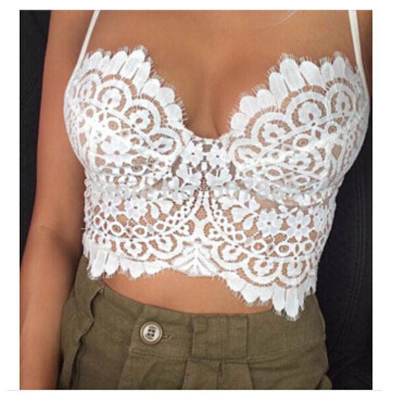 Summer Sexy Low-cut Halter Eyelash Lace Top Vest For Big Sale!- xikeoo.com