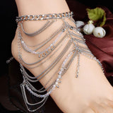 Retro Crystal Silver Multi-Chain Water Droplets Tassels Anklet - cutespree