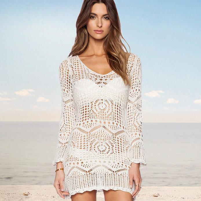 Knitted White Hollow Dress Beach Perspective Smock Dress - cutespree