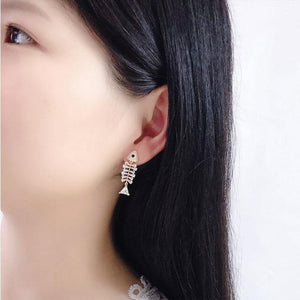 Lovely Silver Needle Bone Personality Creative Earrings Zircon Fish Bone Animal Earrings Studs
