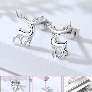 Cute Deer Animal Silver Female Elk Earrings Earrings Studs