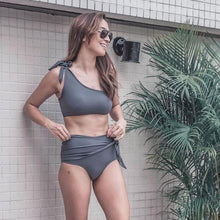 Load image into Gallery viewer, Sexy Bandage High Waist Bikinis Single Shoulder Irregular Summer Swimsuit