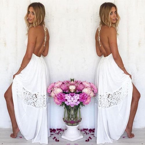 Fashion Hollow-out Backless Lace Summer Stitching Lady Long Dress For Big Sale!- xikeoo.com