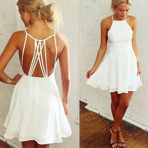 Nifty Girl's White Sleeveless Back Cross Straps Backless Party Evening Cocktail Dress Ruffles Chiffon Summer Dresses For Big Sale!- xikeoo.com