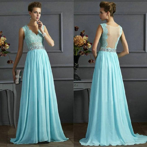 Elegant V-neck Sequins Backless Formal Prom Gowns Long Maxi Dress Ruffles Women's Blue Mesh A-line Chiffon Formal Evening Dresses For Big Sale!- xikeoo.com