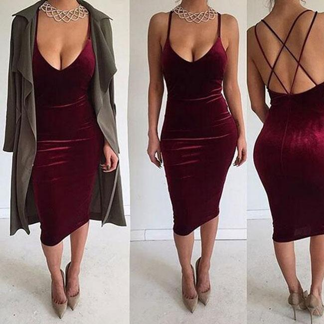Sexy Women's Pure Backless Crossover Straps Braces Skirt Dress For Big Sale!- cutespree.com