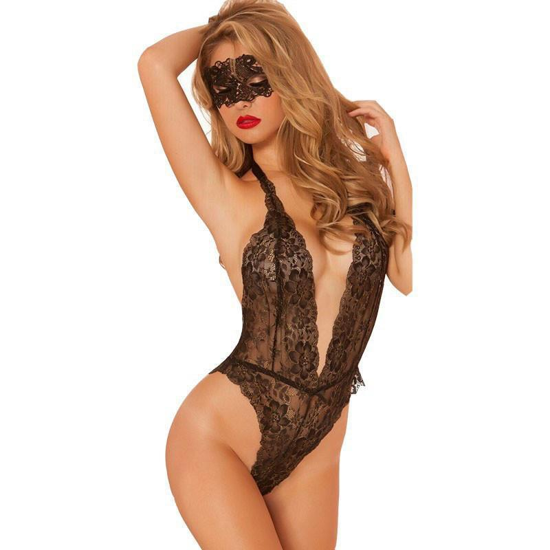 Women's Grenadine underwear Lace Deep V Sexy Lingerie Sleepwear Lingerie Set For Big Sale!- cutespree.com