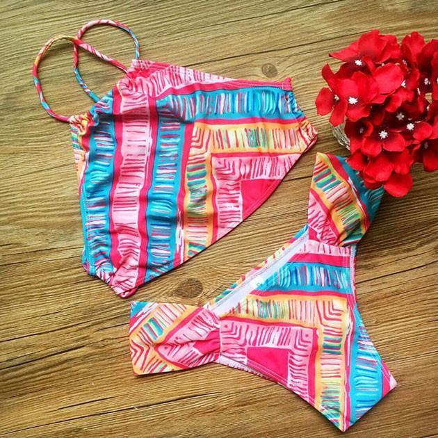 Colorful Bandage Push-up Bikini Set Swimsuit Wonmen Swimwear - cutespree