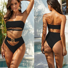 Load image into Gallery viewer, Sexy Mix Color Bikini Metal Button Bandeau Bandage Black White Summer Swimsuit