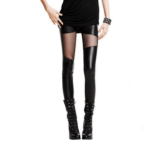 Sexy Leatherette Stitching Gauze Leggings - xikeoo