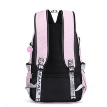 Load image into Gallery viewer, Leisure Waterproof Bandage USB Interface Nylon Student Bag Girls Junior High School Backpacks