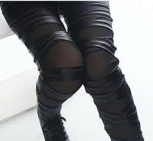 Fashion Straps Mesh Leather Lace Leggings - xikeoo