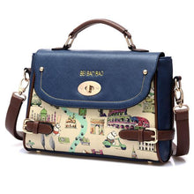 Load image into Gallery viewer, Blue Cute Cartoon Leather Handbag Shoulder Bag - xikeoo