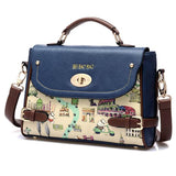 Blue Cute Cartoon Leather Handbag Shoulder Bag