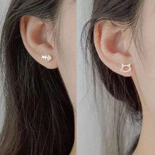 Load image into Gallery viewer, Lovely Cat Fish Bone Rhinestone Asymmetrical Silver Women Earrings Studs