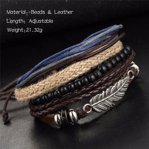 Leisure Angel Wing Feather Alloy Multi-layer Wooden Bead Woven Beaded Wax Bracelet