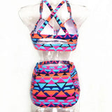 New Large Size Colorful Lattice Women's Bikini Sexy High Waist Swimsuit For Big Sale!- cutespree.com