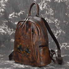 Load image into Gallery viewer, Retro Branches Flowers Handmade Original Dragonfly Thick Leather Travel Backpack