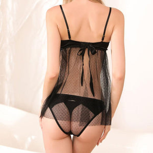 Sexy Panties Perspective Pajamas Black Lace Strapless Backless Nightdress  Lady Lingerie