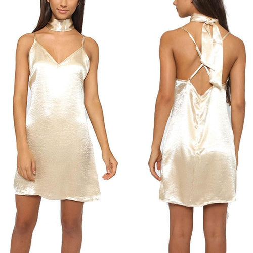 Sexy Halter Silk Dress  Backless Lace Party Dress For Big Sale!- xikeoo.com