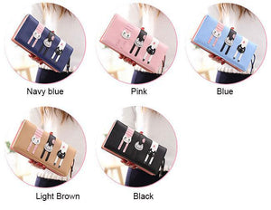 Cute Long Cat Zipper Wallet Lady Purse Kitten Clutch Bag For Big Sale!- xikeoo.com