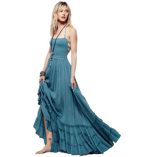 Sexy Backless Halter Big Pendulum Long Party Dress Beach Dress For Big Sale!- xikeoo.com